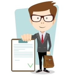 Businessman with the approved document vector