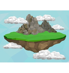 Floating island with mountains vector