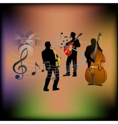 Musical background with a saxophone guitar and vector