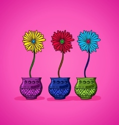 Bright flowers in pots vector