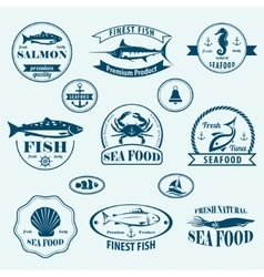 Seafood retro emblems and labels set vector