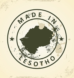 Stamp with map of lesotho vector