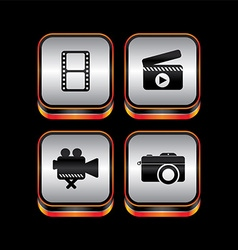 Metal plate video movie theme icon button vector