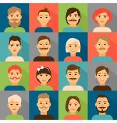 Avatar app icons User hipster face set vector image