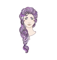 Beautiful girl with intricately patterned vector image