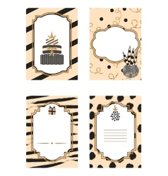 Birthday card black and beige template set Gold vector image
