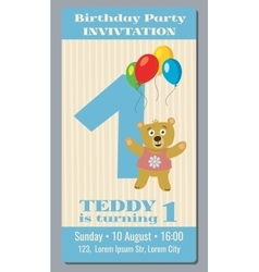 Birthday party invitation card with cute bear vector image