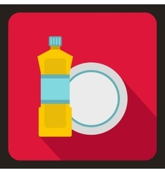 Bottle of dish soap and clean dish icon flat style vector