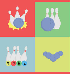 Bowling concept skittles with balls collection vector