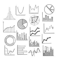 Charts bars and graphs icons sketches vector image vector image