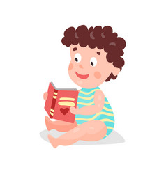Cute cartoon curly toddler boy sitting on the vector