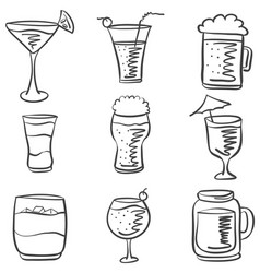 doodle drink various hand draw vector image