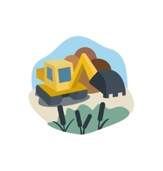 Excavator on the marsh land work near reeds logo vector