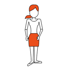 Faceless woman with shirt and pencil skirt ico vector