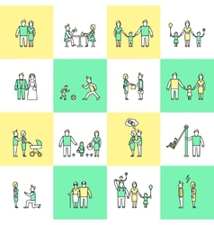 Family icons set flat line vector image