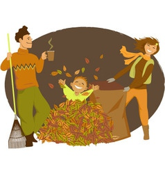 Family raking autumn leaves vector image