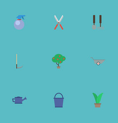 Flat icons plant green wood watering can and vector