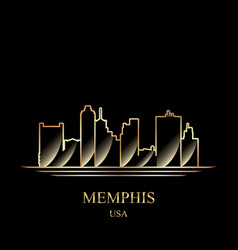 Gold silhouette of memphis on black background vector