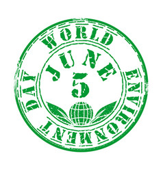 Green grunge stamp for world environment day vector