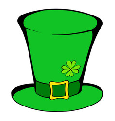 green leprechaun cylinder hat icon icon cartoon vector image