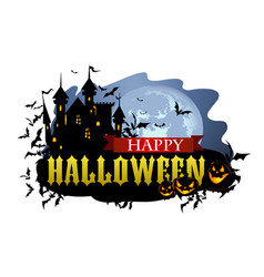 Halloween banner with dracula castle vector