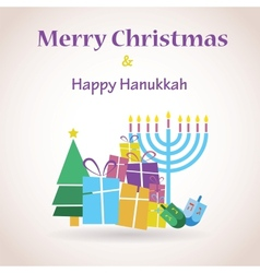 happy Hanukkah and merry christmas vector image vector image