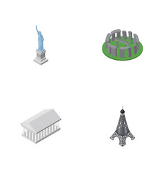 Isometric cities set of paris new york athens vector