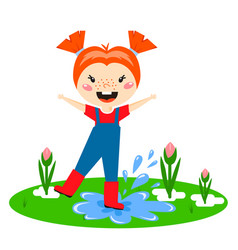 kid play enjoy spring arrival warm summer little vector image