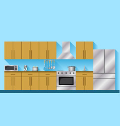 Kitchen furniture and appliances vector