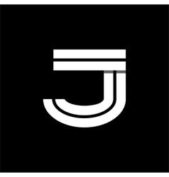 Letter j wide white stripes logo monogram emblem vector