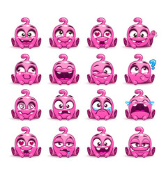 little cute funny pink alien set vector image vector image