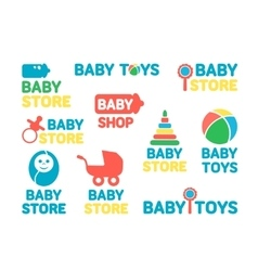 Logotypes set of baby stores vector