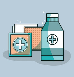 Medical care tools to first aid vector
