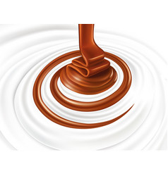 Milk swirl with hot chocolate flow vector