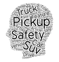 Pickup trucks and safety text background wordcloud vector