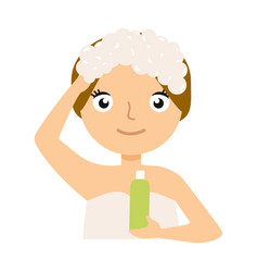 pretty woman soaping her head on white background vector image vector image