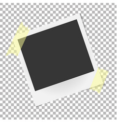 Realistic photo frame on sticky tape template vector