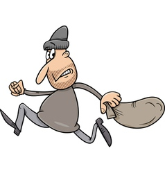 Running thief with sack cartoon vector