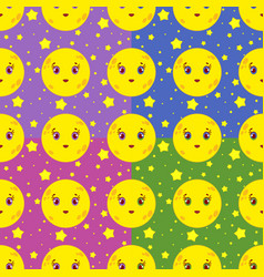 set of seamless patterns of cartoon smiling moons vector image vector image