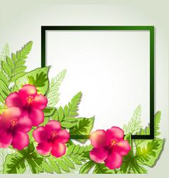 Summer frame with red flowers vector
