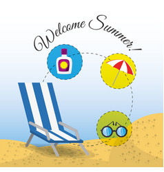 Summer umbrella sun glasses chair and sunscreen vector