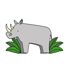 wild rhinoceros with bush jungle vector image