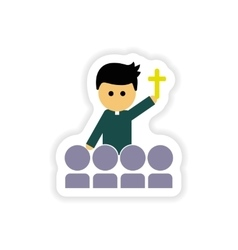 Paper sticker on white background christian priest vector