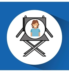 Cheerful girl cinema chair megaphone icon design vector
