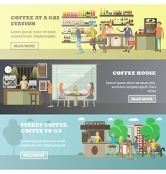 Set of coffee concept horizontal banners in vector