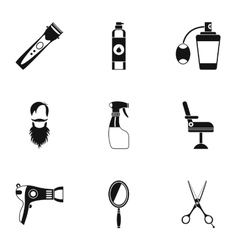 Barbershop icons set simple style vector