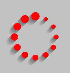 Circular loading sign  red icon with soft vector