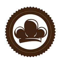 Brown stamp border with silhouette chef hat vector