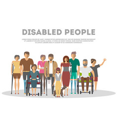 Disabled people banner in flat style vector
