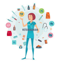 veterinarian round composition vector image